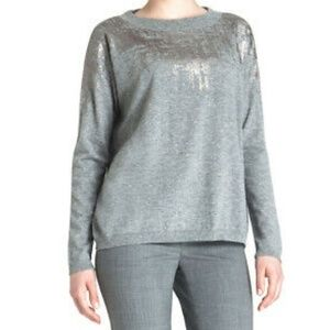 Lafayette 148 Wool Gray w/ Metallic Foil Sweater